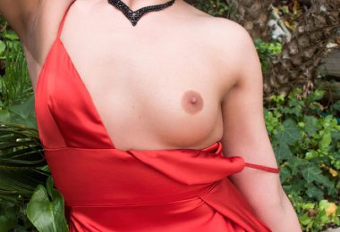 Despindo Vestido Vermelho Jardim (4)